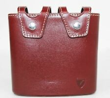 ASPINAL OF LONDON Mens Double 6Oz Smooth Burgundy Suede Popper Hip Flask Pouch