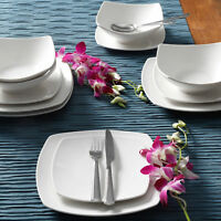 12-Piece Square Dinnerware Set Dinner Dessert Plates Bowls Ceramic White Dishes