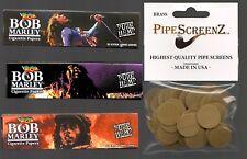 "3X BOB MARLEY Hemp KING SIZE Rolling Papers & 100+ (3/4"") BRASS PIPE SCREENS"