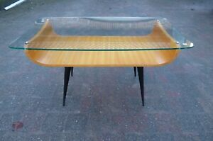 COR ALONS DUTCH DESIGN VINTAGE COFFEE TABLE 1950s ORGANIC FORM GLASS TOP