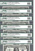 US Silver Certificate ✨ 1957B $1 X 1 note Fr#1621 (XA Block) ✨ PMG 66 EPQ #1161
