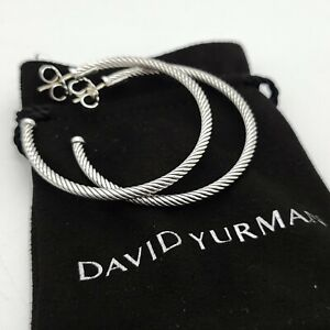 David Yurman Sterling Silver Classic Cable 2'' Inch Hoop Earrings With Pouch