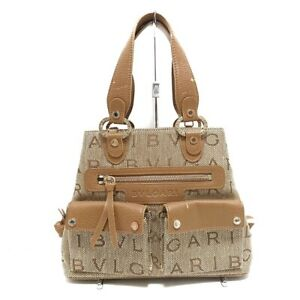 Auth BVLGARI Becky Beige LightBrown Jacquard Leather Tote Bag