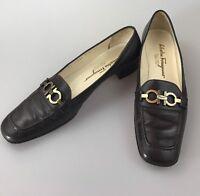 Salvatore Ferragamo Brown Slip On Leather Loafers Sz 7.5 AAA Bit Buckle Morning