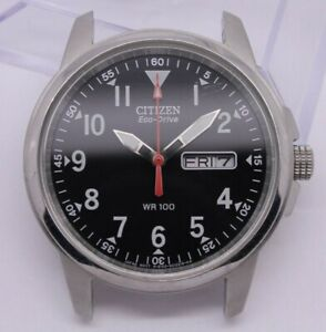 Citizen Eco-Drive Mens WR100 37mm Steel Day Date Watch E100-S006597 = NEEDS TLC