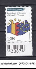 ANDORRA FRENCH - 2012 PRESIDENCY OF THE EUROPEAN COUNCIL SG#F757 1V MNH