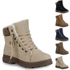 Warm Gefütterte Damen Stiefeletten Worker Boots Schnürschuhe 70422 New Look