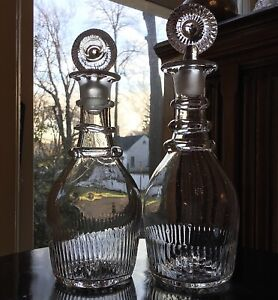 Early American Small Three Ring Decanters (2) c.1800- Pittsburgh Glass