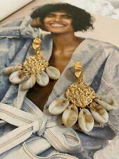 Latoir Instagram Blogger Hammered Gold Shell Drop Minimalist Statement Earrings