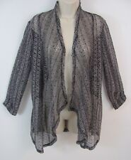 BKE BOUTIQUE BUCKLE Womens Cardigan Sz M Open Weave Black Lace Back Sequin NWT
