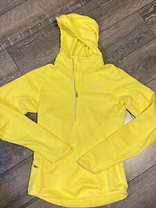 Nike Dri-Fit Running Womens Size Small Long SleeveYellow 1/4 Zip Pullover Hood