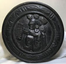 Vintage Wood Carved Warrior Plaque  Esate Find