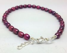 "Pink Freshwater Pearl Bracelet 7 - 7 3/4"" solid sterling Silver. New, UK seller"