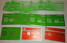 13 alte Telefonkarten BT British Telecom und RTT mit 20 40 100 105 Einheiten