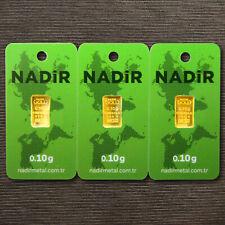 Goldbarren 3 Stück á 0,10 Gramm NADIR Gold Barren 0,1g 0,10g 0,3g 999,9 LBMA NEU