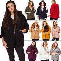 Womens Italian Lagenlook Wool Texture Hooded Coatigan Cardigan Warm Coat Jacket