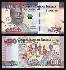 NIGERIA 100 NAIRA 2014 UNC COMM. CENTENARY 1'ST BANKNOTE IN THE WORLD ORC P-41