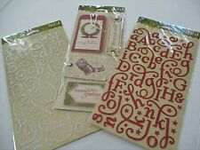 2 Pks Christmas Making Memories Shimmer Red Silver Letters and Vtg Fabric Tags