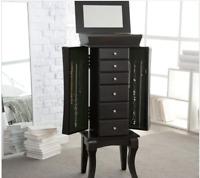 Contemporary Jewelry Armoire Free Standing Cabinet Organizer Mirror Modern Dark