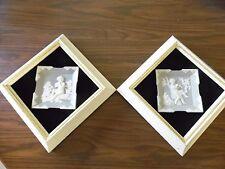 Pr Jasper Ware Wall Hangings~Grey and White Jasper Shadow Box 1950's~Vandervoort