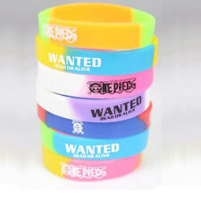 5X Fashion ONE PIECE Silicone Bracelet WANTED Unisex Wristband Multicolor