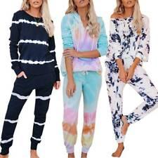 Women Tie-Dye Tracksuit Ladies Long Sleeve Tops Trousers Loungewear Pyjamas Sets