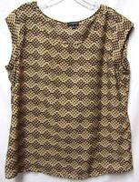 THE LIMITED top shirt blouse XL 14/16 Bust 46 gold/brown mutli Modern Print