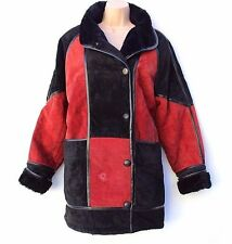 Vintage Black & Red 100% Real Leather Faux Fur Women's Jacket Coat Size UK 16