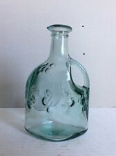 """Vintage Glass Bottle Green Clear Handle & Spout Signed Canada Bottom 6.5"""" H"""