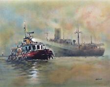 John KELLY The Tugboat Nautical Military P/Signed Original Lithograph
