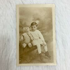 Antique Victorian Edwardian Boy & Teddy Bear Rppc Real Photograph Postcard