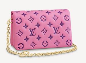 Louis Vuitton Pochette Coussin Pink Purple Leather Bag Authentic LV Brand New