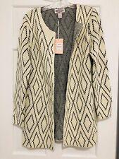 NWT Oliver - Women's Open Front Cardigan Sweater Ivory & Black Diamond Sz L