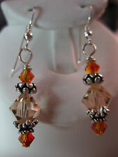 Sterling Silver Dangle Earrings with Swarovski Crystals Peach & Fire Opal