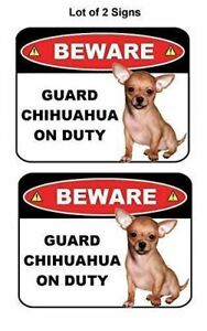 2 Count Beware Guard Chihuahua on Duty (v1) Laminated Dog Sign