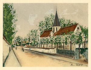 """Maurice Utrillo pochoir """"L'Eglise d'Eaubonne"""""""