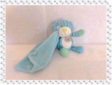 O - Doudou Peluche Chien  Bleu Blanc Vert Velours Mouchoir  Baby Nat
