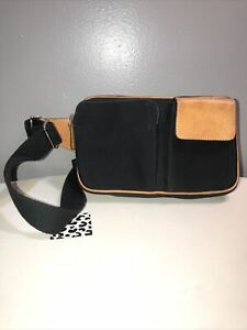 Vintage Coach Tan Leather Trim Black Canvas Fanny Pack