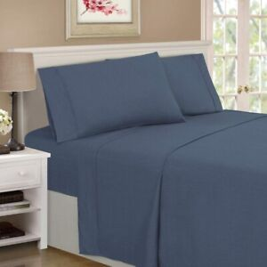 3-pc Twin XL Navy Superior 1500 Series Rayon from Bamboo Microfiber Sheet Set