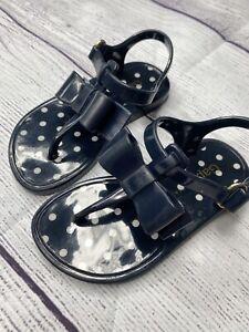 Toddler Girls Gap Jellies Bow Polka Dot Sandals - Size 7- navy blue