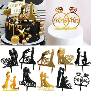Wedding Cake Topper Mr & Mrs Bride and Groom Engagement Gold Acrylic Decoration✅