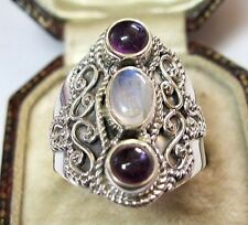 Vintage Celtic Style Sterling Silver Amethyst & Moonstone Jewellery RING R 8.5