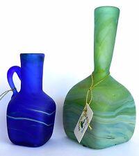 Set of 2 Antique Holy Land PHOENICIA Hand Made Glass Pitchers Liquids Vases Art
