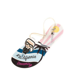 RRP €130 KARL LAGERFELD Thong Sandals Size 37 UK 4 US 6 Karlito Patch Pin Buckle