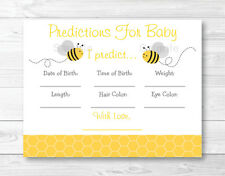 Bumble Bee Baby Shower Baby Predictions Game Cards Printable