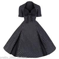 PRETTY KITTY ROCKABILLY 50s BLACK POLKA DOT VINTAGE STYLE SWING PROM DRESS 8-22