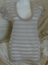 Armani Exchange metallic silver wool cotton fitted top w/ beige stripes Size M