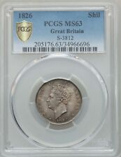 ENGLAND GEORGE IV 1826  1 SHILLING SILVER COIN UNCIRCULATED PCGS CERTIFIED MS-63