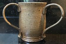 Vintage Studio Pottery Triple Handled Loving Cup Mug Archie Stamped Latkin