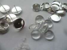 20 NEW  12mm Earring Pendant Making Set~10 bases 10 studs 20 glass cabochons